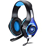 BlueFire Professional 3.5mm PS4 Gaming Headset Headphone with Mic and LED Lights for Playstation 4, Xbox one,Laptop, Computer (Blue)