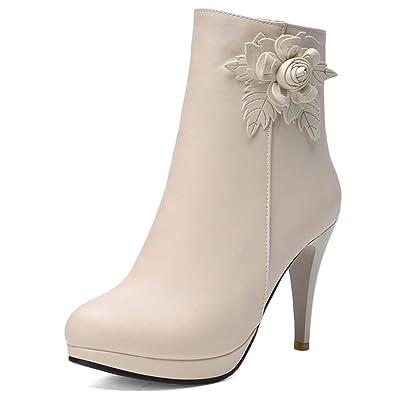 Women's Appliques Solid Zipper High Heel Boots