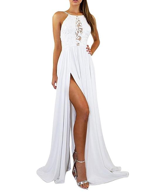 Quge Vestidos Coctel Largos Mujer sin Manga para Ceremonia Fiesta Partido Vestido de Noche Blanco S