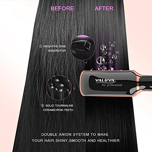 Hair Straightening Brush YALUYA Hair Straightener Brush Ceramic Portable Electric Heat Brush Straightening Irons Hair Care Brush Anti Scald Ionic Teeth Comb for Travel Women's Day Gift (Black) by YALUYA (Image #4)