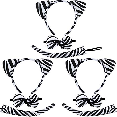 Syhood 9 Pieces Zebra Costume Set, Include Zebra Ears Headbands Bow Tie and Zebra Tail for Halloween Cosplay Costume or Party Decoration]()