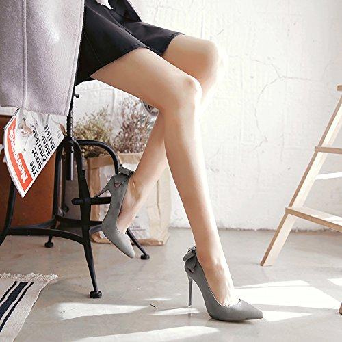de de ocupaciones fina ligero gris de la tacón 9 negro 34 zapatos Los con punta un chica zapato satén y versátil zapatos alto centímetros de Bq5KwU