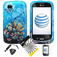 4 items Combo: ITUFFY LCD Screen Protector Film + Mini Stylus Pen + Case Opener + Blue Butterfly Orange Pink Green Color Daisy Flower Design Rubberized Snap on Hard Shell Cover Faceplate Skin Phone Case for At&t ZTE Avail Z990 / ZTE Merit 990G ( Straight Talk , Net10 )