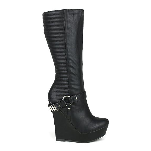Black Knee High Boots Heel