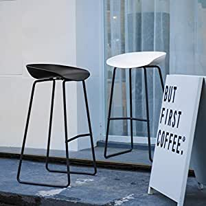Super Art Leon Bar Stools Set Of 2 Mid Century Modern Patio Counter Height Backless Plastic Seat Tall Bar Stools Chair With Metal Foot Rest For Cjindustries Chair Design For Home Cjindustriesco