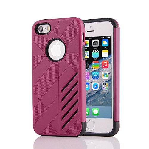 HYAIT® For IPHONE 5S/SE [CONTRAST]Case Dual Layer Hybrid Armor Rugged Plastic Hard Shell Flexible TPU Bumper Protective Cover-XJAE07