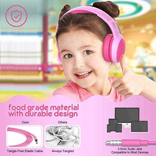 Gorsun Kids Headphones With Limited Volume, Children Headphone Over Ear, Kids Headphones For Boys And Girls, Wired Headset For Children-2 Pack