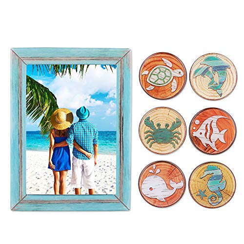 Morcart Refrigerator Magnets with Fish,Turtle,Seahorse, Whale, Dolphind Pattern and Magnetic Picture Frame for Kitchen Fridge Lockers Office Whiteboards Best Gift for Family, Magnets and Photo Frame