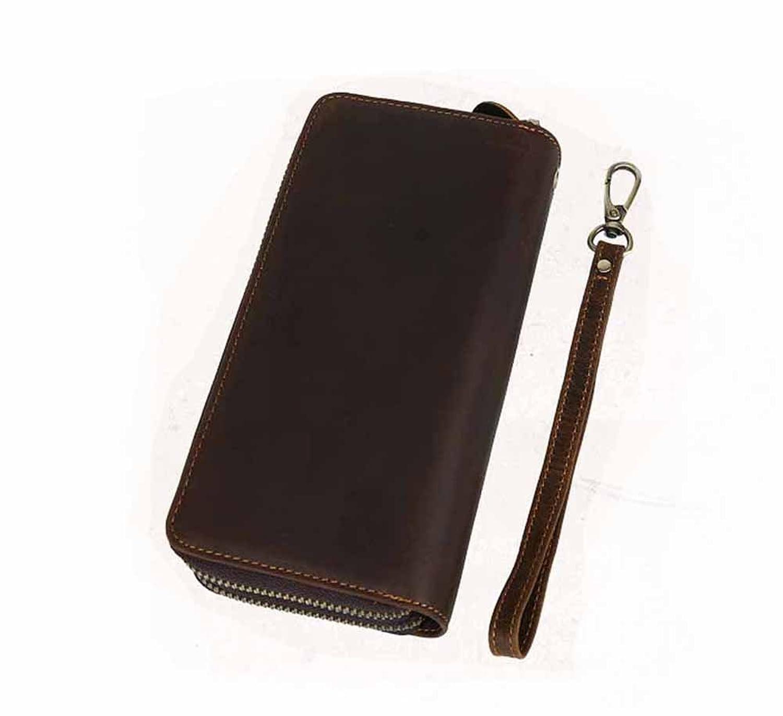 Mailo Unisex-child Real Crazy Horse Leather Organizer Clutch Wallet Card Holder Coin Handbag