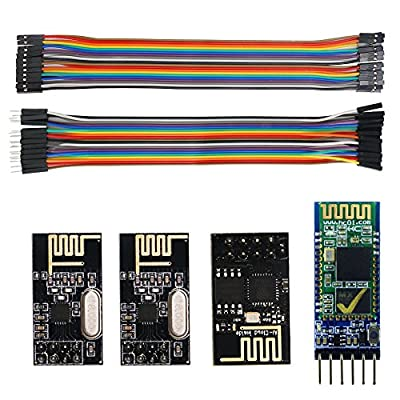 Smraza 3 in 1 Wireless Transceiver Module Esp8266-01 HC-05 Bluetooth and 2pcs NRF24L01+ with Male to Female and Female to Female Jumper Wires for Arduino S24