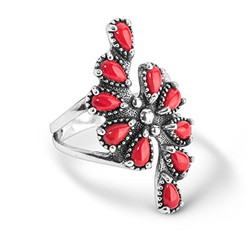 American West Sterling Silver Red Coral Gemstone Cluster Ring Size 8