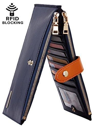 Chelmon Womens Genuine Leather Wallet RFID Blocking Credit Card Holder Zipper Purse(victoria deep blue)
