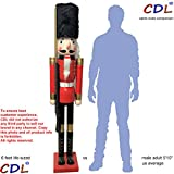 CDL 6ft tall life-size large/giant Christmas wooden nutcracker soldier ornament on stand carry ceremonial gun for indoor outdoor Xmas/event/ceremonies/commercial decoration(6 feet, soldier red k07)
