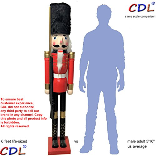 CDL 6ft tall life-size large/giant Christmas wooden nutcracker soldier ornament on stand carry ceremonial gun for indoor outdoor Xmas/event/ceremonies/commercial decoration(6 feet, soldier red k07) by CDL (Image #3)