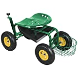 Topeakmart Green Heavy Duty Garden Rolling Cart Work Seat with Tool Tray, Height Adjustable Garden Scooter, Gardening Planting Yard