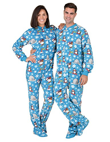Footed Pajamas - Winter Wonderland Adult Drop Seat Fleece Onesie
