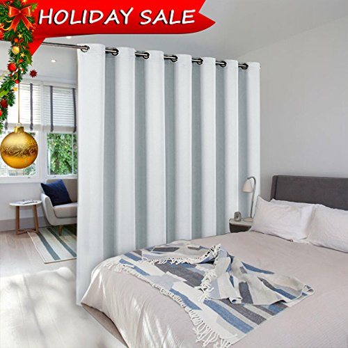 Portable Furniture Partition (Room Divider Curtain Screen Partitions - NICETOWN Extra Wide Room Partitions And Dividers, Use of Inexpensive Microfiber Thermal Coating Fabric (Single Piece, 15ft wide x 8ft long,Greyish White))