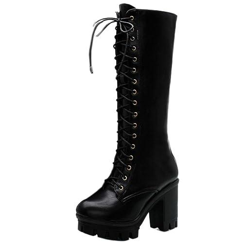 Coolcept Mujer Moda Tacon Ancho Hohe Ferse con Cordones Rodilla Botas con Plataforma: Amazon.es: Zapatos y complementos
