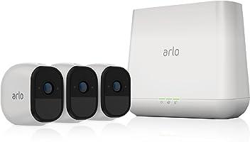 Arlo  VMS4330-100EUS Pro - Sistema de seguridad y vigilancia de 3 cámaras sin cables con estación base y sirena (recargable, interior/exterior, visión nocturna, audio bidireccional, visión 130º)