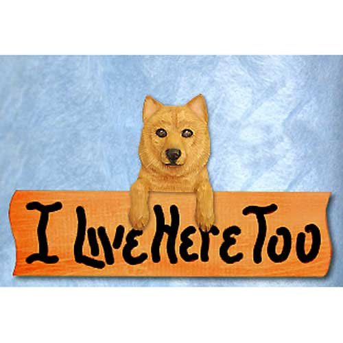 Michael Park Finnish Spitz I Live Here Too Maple Finish Sign