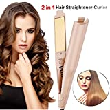 2-in-1 Hair Curling Straightening Iron Hair Styling Tools,Adjustable Temperature Suitable for All Hair