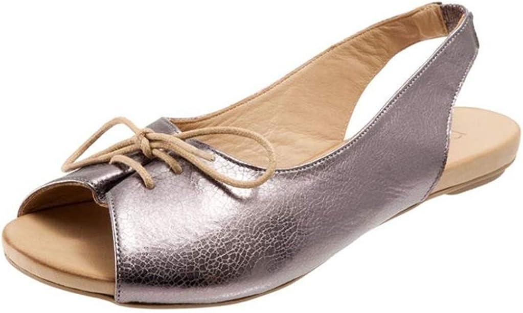 Sandalias Planas para Mujer Verano Tacón Bajo Peep-Toe Espalda Abierta Slingback Calzado con Cordones Casual Citas Vacaciones Femme Zapatos con Banda Elástica