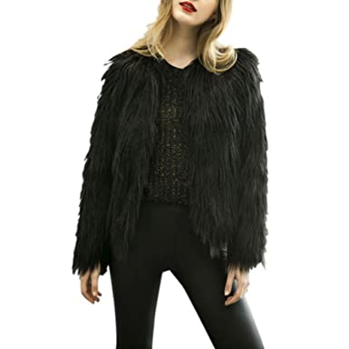 Black feather fur jacket