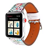 YuKing Flower Design Strap for Apple Watch,Soft PU Leather Floral Printed Style Watch Band 38mm 42mm Strap Wrist Band for iWatch Smart Fitness Watch Series 3 2 1 Version (New Crowned Crane 38mm)