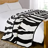 Dreamscene Animal Mink Faux Fur Throw, Zebra, 200 x 240 Cm by Dreamscene