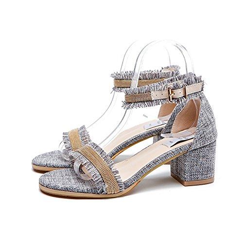 Gris Corbata Irregular El Shoes Wild Femenina Sandalias De Estudiantil Con Heel GAOLIM Verano High Ranurado Con Comodín Ywa8gTq