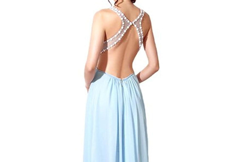 AngelDragon Illusion Neckline Beading Long Prom Dress Sexy Evening Gowns