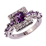 Emsione 925 Sterling Silver Plated Created Amethyst Halo Womens Ring