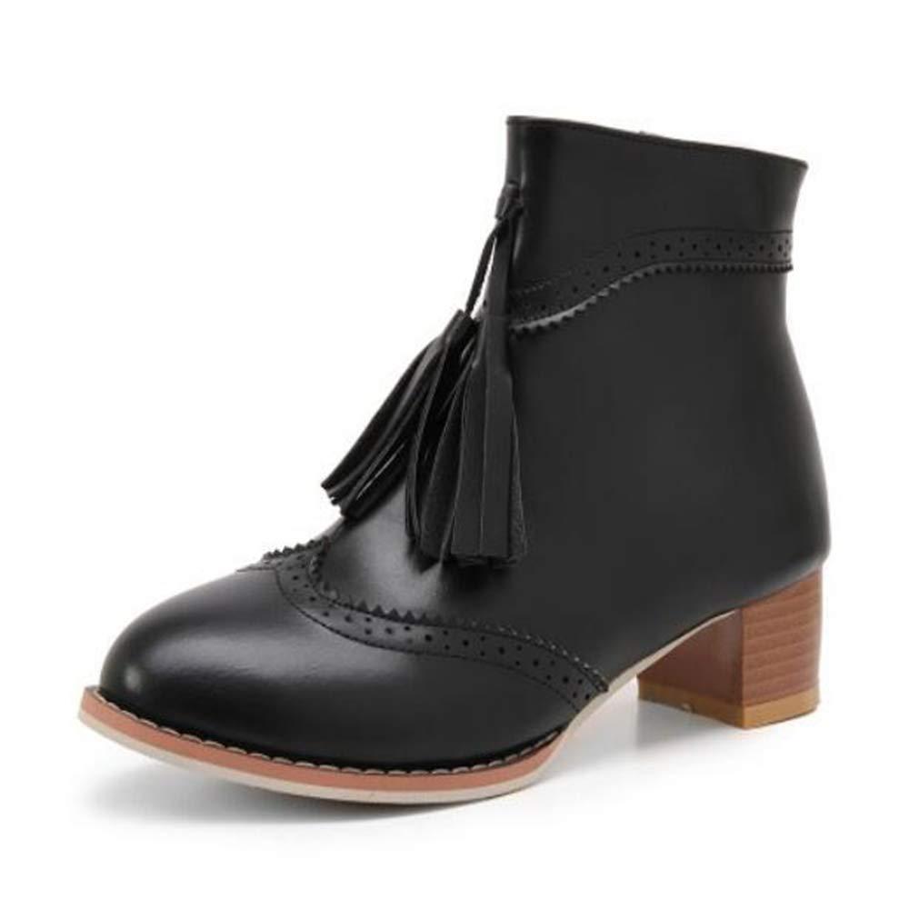 CITW Herbstliche Damenstiefel Brüten Stiefelies Große Damenstiefel Mit Retro-Damen Stiefeln Mode Stiefel,schwarz,UK3 EUR37