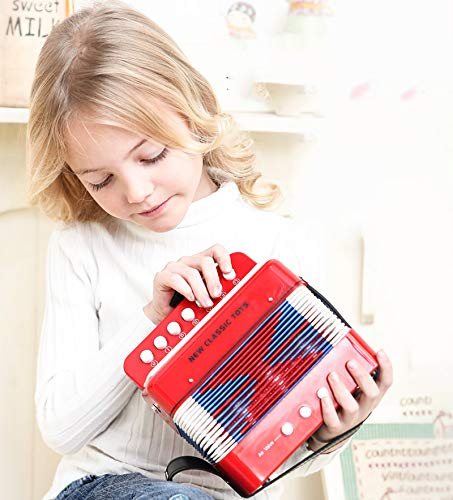 SFQNPA Red Toy Accordion Instrument Mini Small 7Key 2 Bass Accordion Educational Musical Instrument Toy for Kids Children Amateur Beginner by SFQNPA (Image #4)