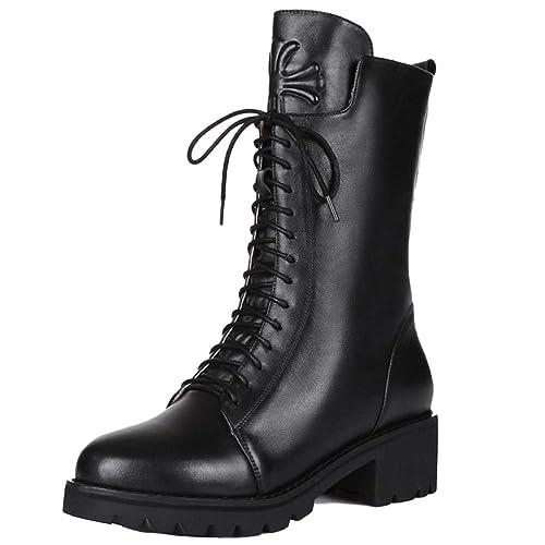 Botas Martin para Mujer Zapatos Tipo Bota con Cordones Biker para Mujer Cremallera Punk Ejército Militar Combate Espesar Botines: Amazon.es: Zapatos y ...