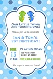 30 Invitations Dragon Twin Boys Birthday Party Baby Shower Personalized Cards + 30 White Envelopes