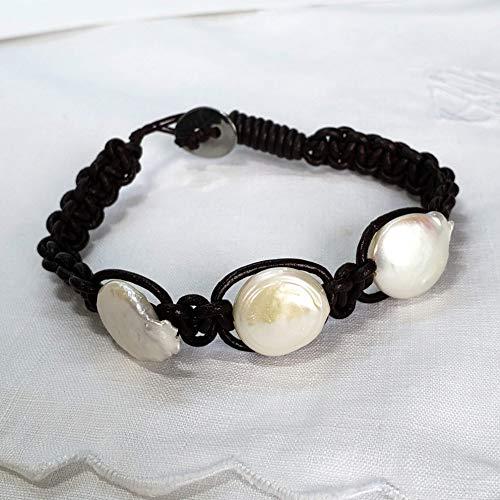 Freshwater Pearls Bracelet. Hand Knotted Brown Leather Bracelet. Macrame Bracelet. Genuine Freshwater Button Pearls. White 16 mm Button Pearls Bracelet. 7.5