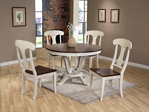 Baxton Studio Napoleon Chic Country Cottage Antique Oak Wood and Distressed White 5-Piece Dining Set with 48-Inch Round Pedestal Base Fixed Top Dining Table (Oval Dining Table Pedestal Base)