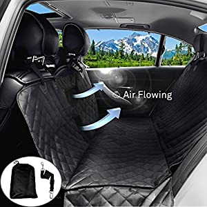 JIKAI Pet Seat Covers For Dogs 100 WaterProof NonSlip Backing Black Quilted Car With Buckle Straps