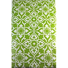 Fleur De Lis Vinyl Umbrella Tablecloth with Hole and Zipper Green Assorted Sizes (70 Round)