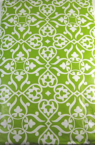 Fleur De Lis Vinyl Umbrella Tablecloth with Hole and Zipper Green Assorted Sizes (60 x 84 Oblong) (Umbrellas Oblong Garden)