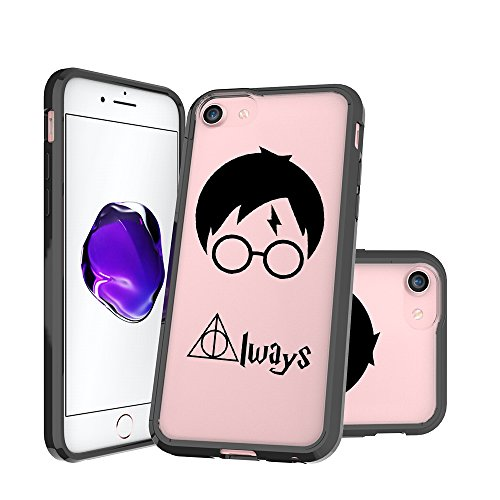 (iPhone 7 Case, iPhone 8 Case Clear, Always Deathly Hallows Pattern Printed Clear Design Transparent Plastic Hard Back with TPU Bumper Protective Case Cover for Apple iPhone 7 and iphone)