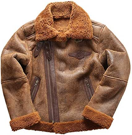 NIMI Men's Real Shearling Leather Jacket,Brown B3 WW 2 Bomber Pilot Jacket,Hair Collar Liner Removable Flight Jacket