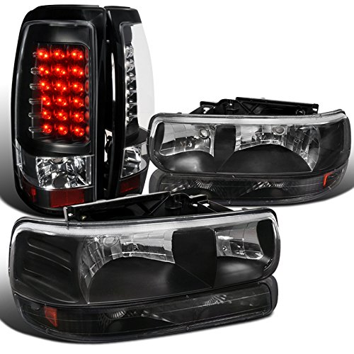 Euro Black Silverado Diamond Headlights+Bumper Lights+LED Tail Lamps (Chevy Silverado Diamond)