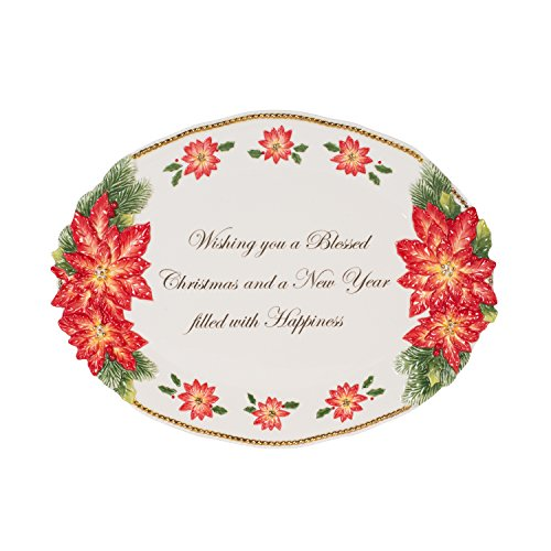 Fitz and Floyd 55-053 Christmas Poinsettia Serving Platter, Red/White/Green