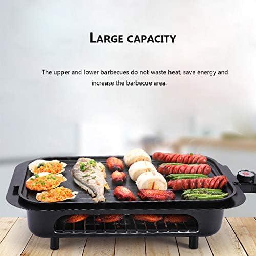 XJBHRB Barbecue Electrique d'Intérieur, Grill électrique à Plaque Amovible à réglage de la température à 5 Vitesses, Super-Grande capacité Polyvalente Facile à Nettoyer