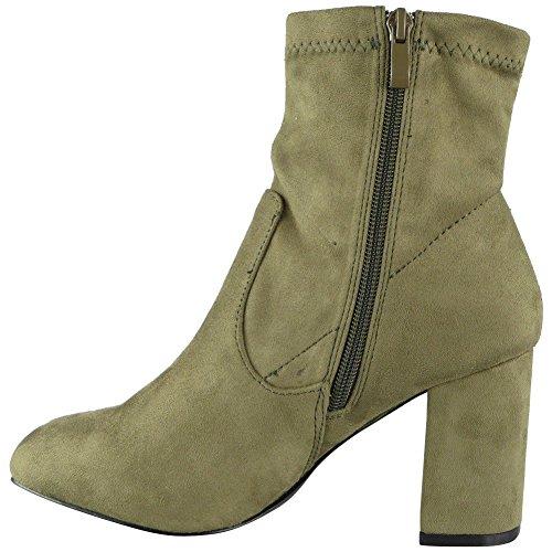 Damen Faux Wildleder Postleitzahl Hoch Kubanisch Hacke Arbeit Einfach Knöchel Stiefel Größe 36-41 Dunkel Grün