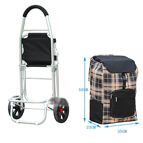Color : Blue WOAINI Large Capacity Light Weight Foldable Wheeled Shopping Trolley With Seat Push Cart Bag With 2 Wheels