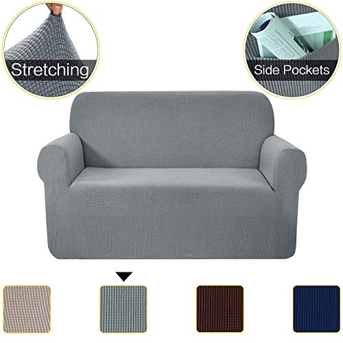 1-Piece Stretch Love Seat Sofa Cover with Pockets, Slip Resistant Stylish Furniture Protector, Thick and Durable Fabric Jacquard Sofa Slipcovers, 2 seater Loveseat Couch Covers for Living Room, Gray