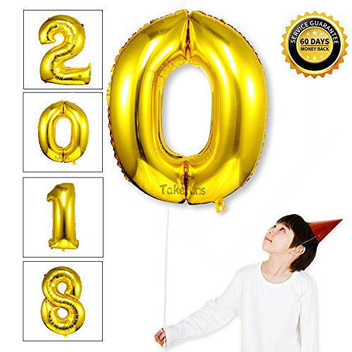 40 Inch Giant Gold 2018 Number Foil Balloons 2018 Graduation Decorations New Year Eve Festival Party Supplies,Glossy Gold,Number 0 (Zero Halloween Decoration)